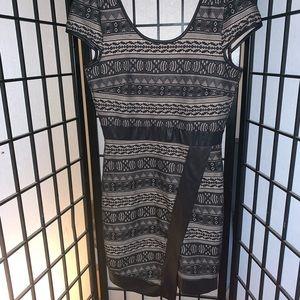 Beautiful black lace and nude dress